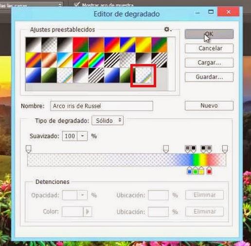 degradado arco iris de russel