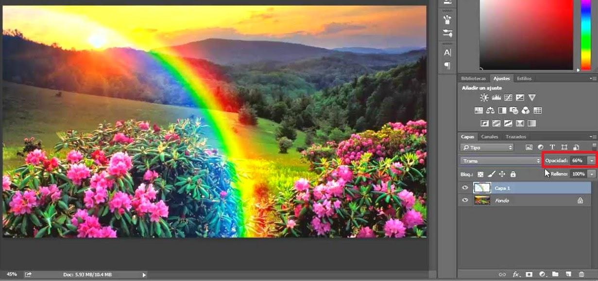 baja opacidad de arcoiris