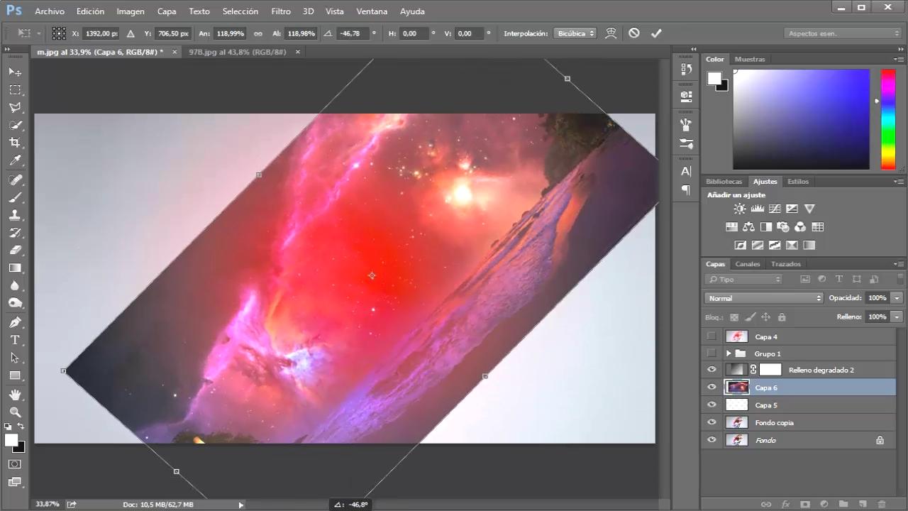rotar textura del espacio
