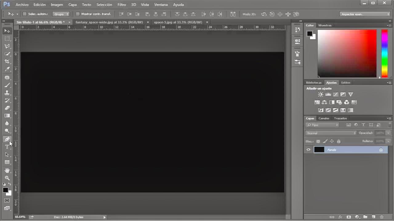 documento nuevo con fondo negro