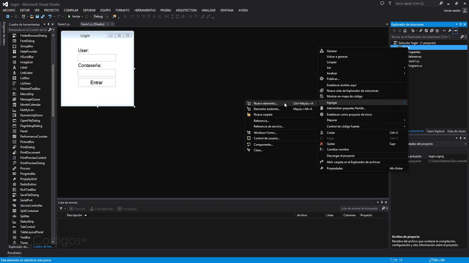 visual studio agregar nuevo elemento
