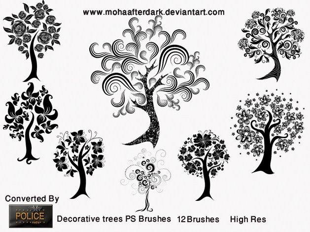 12 Decorative Tree Brushes