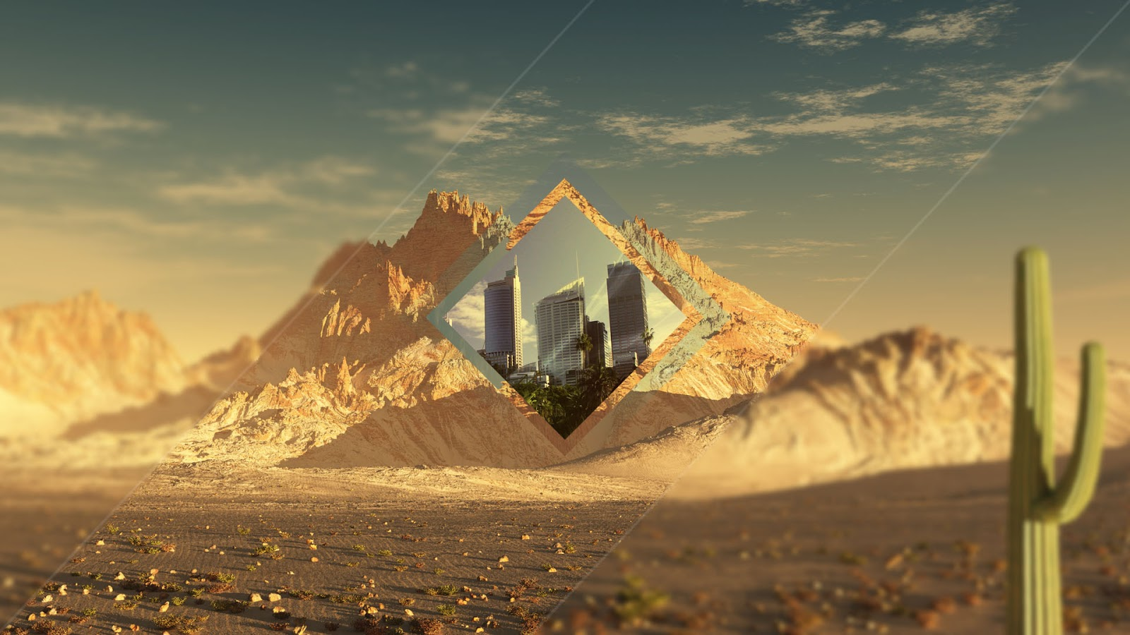 wallpaper polyscape desierto photoshop