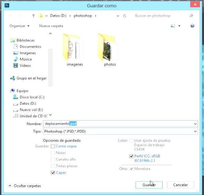 guardar documento lugar windows