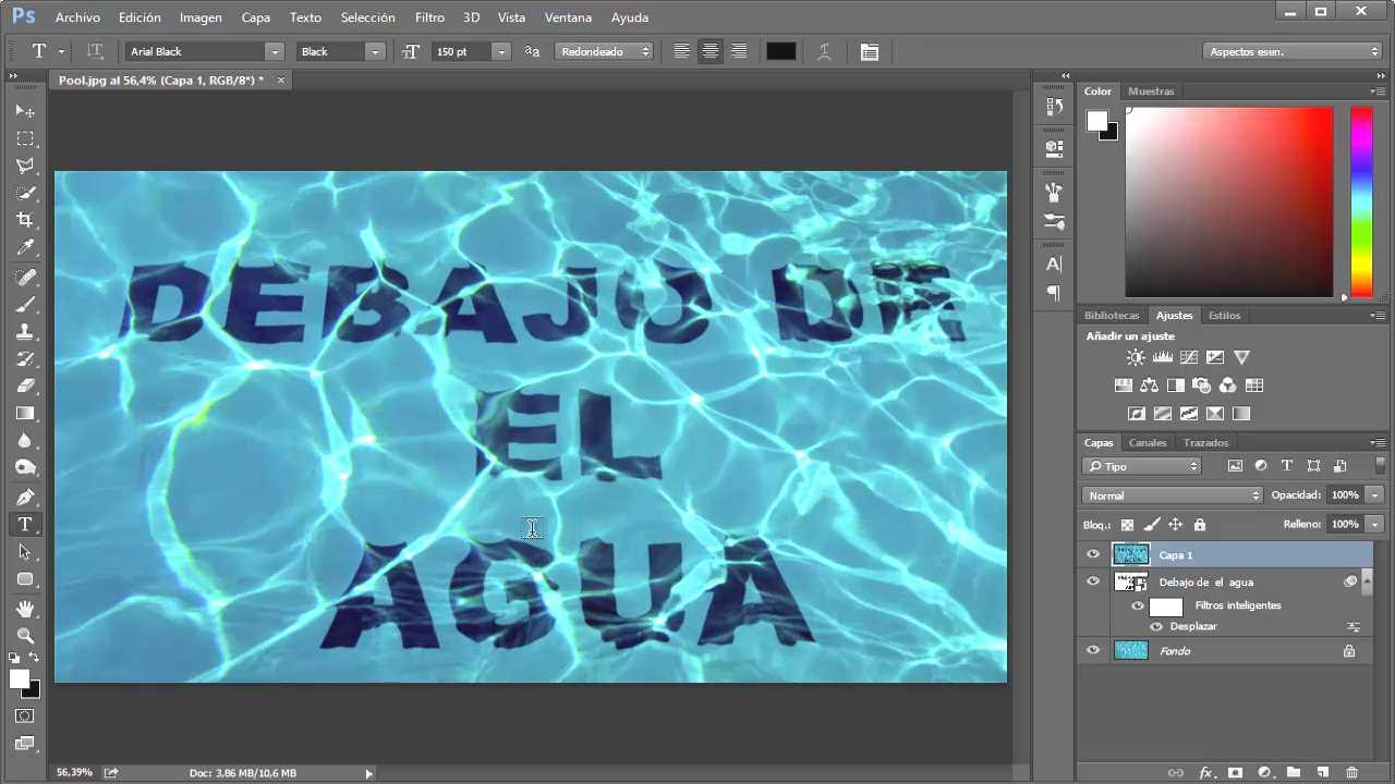 resultado texto debajo del agua