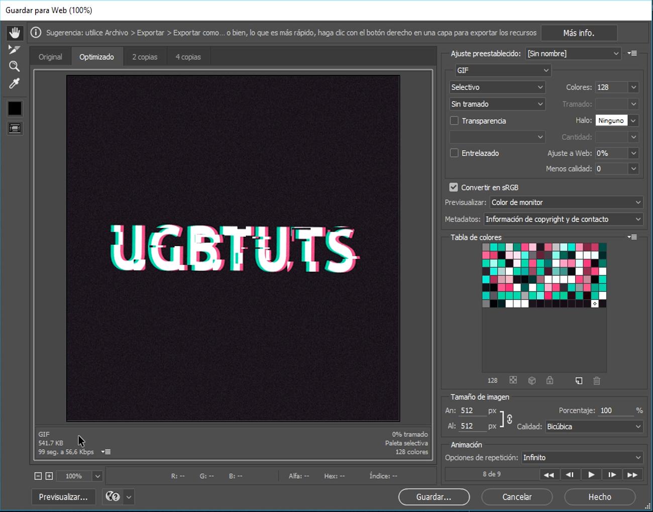 gif animación texto glitch guardar gif