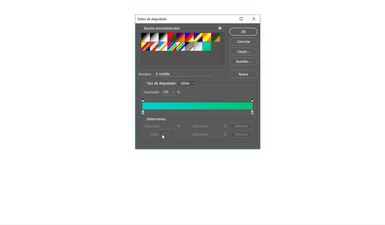colores en herramienta degradado