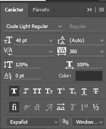 configuración texto code light regular
