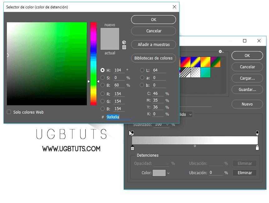 selección de colores degradado